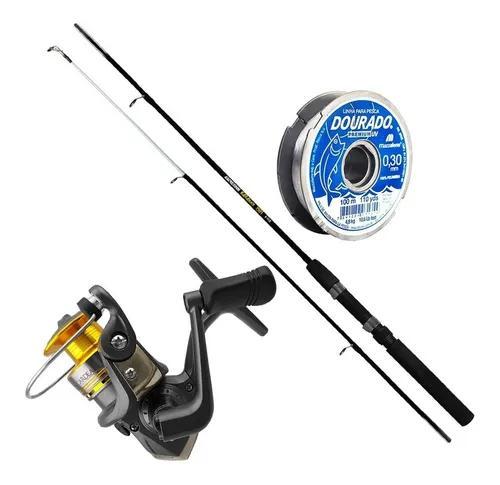 Kit pesca molinete albatroz cardeal 3 rolamentos vara linha