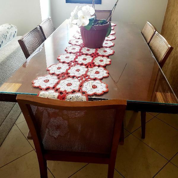 Linda mesa de jantar em madeira maciça imbuia pumelê