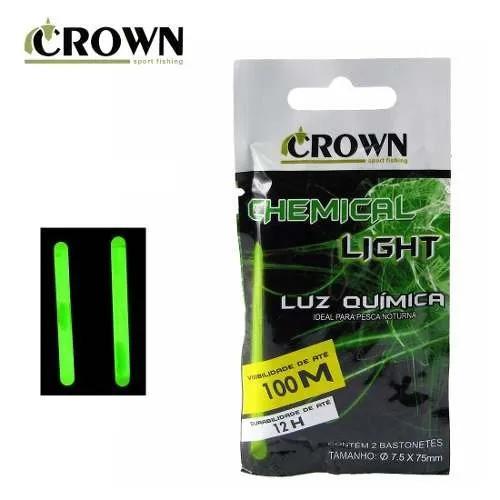 Luz química crown p/ pesca 7.5 x 75mm - cartela c/2 peças