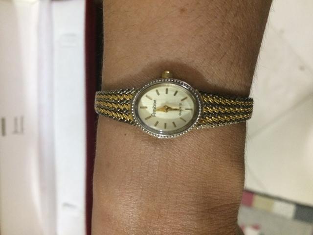 Relógio armitron quartz vintage original, foleado a ouro
