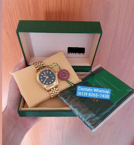 Relógio masculino dourado prova d'água