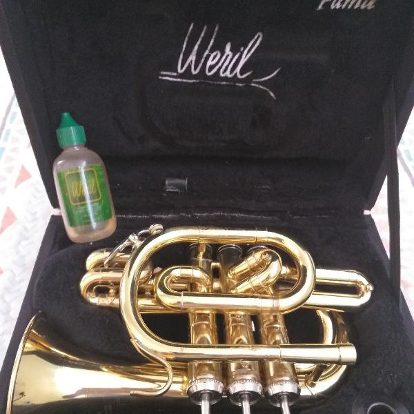 Trompete pocket weril com bocal jc custom b6 e hardcase
