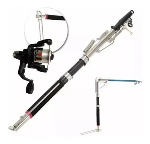 Vara pesca telescópica fisga automática 2,4m + molinete