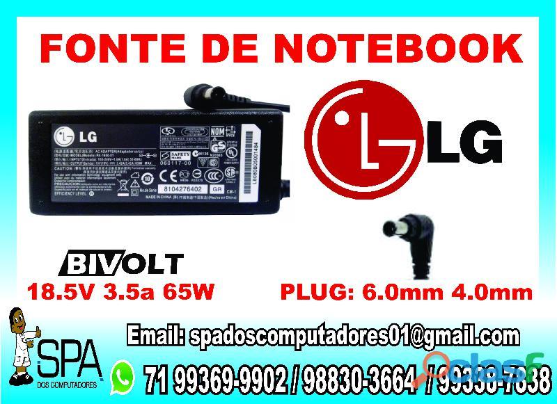 Carregador notebook lg 19v 3.5a pino 6mm x 4mm em salvador ba