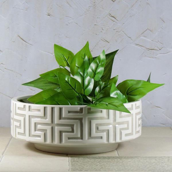 Centro de mesa ou cachepot branco cerâmica étnico mod