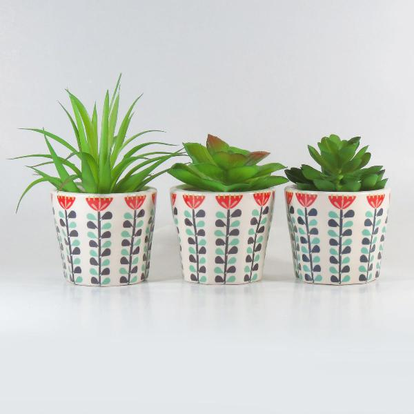 cj 3 mini vasos cachepots decorativos suculenta petite fleur