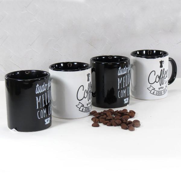 conj 4 lindas mini canecas melhor café preto branco