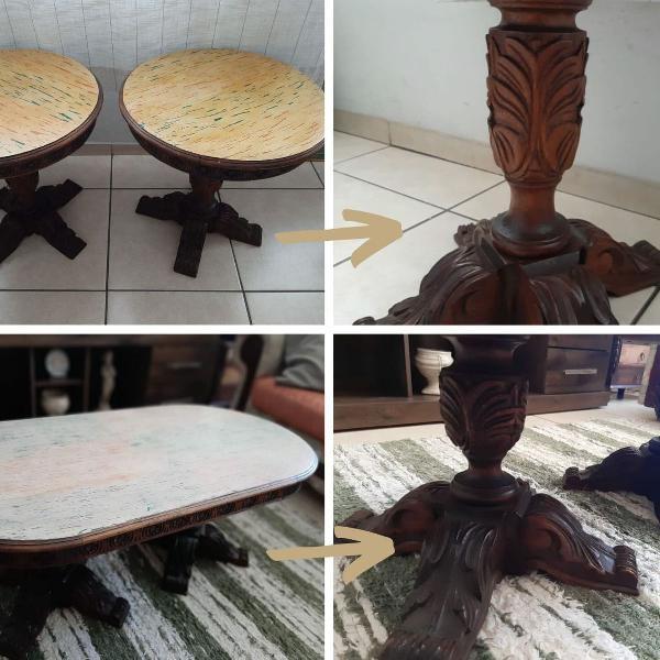 Conjunto de mesa de madeira maciça