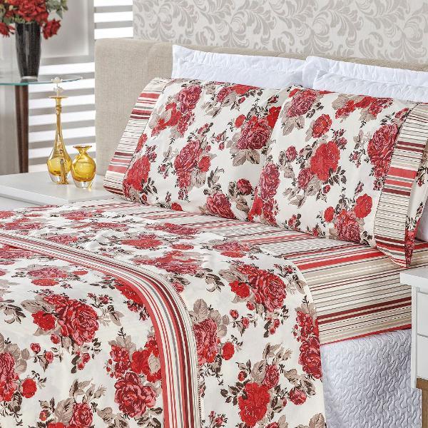 Jogo cama casal padrão 4 peças em algodão requinte