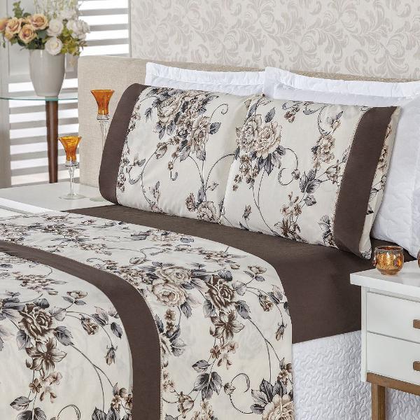 Jogo de cama king 4 peças em algodão requinte