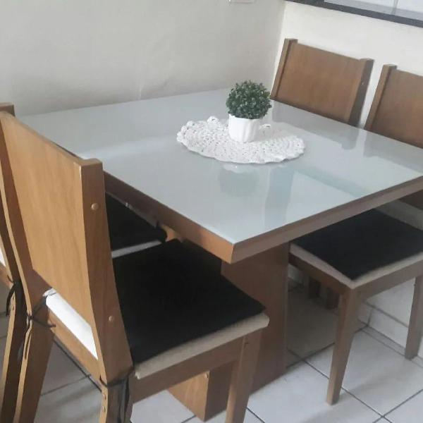 Mesa de jantar 4 cadeiras madeira mdf com tampo de vidro