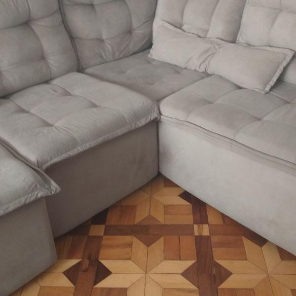 Sofá de canto 4 lugares chaise long e encosto retrátil,
