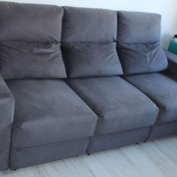 Sofa retrátil cinza 3 lugares