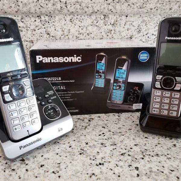 Telefone sem fio panasonic silver kx-tg6722lbb