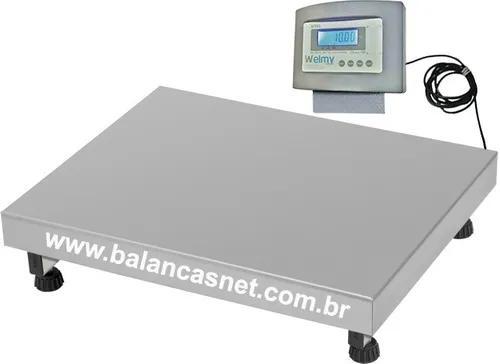 Balança eletrônica inox 300kg x 50g plataforma 50x60