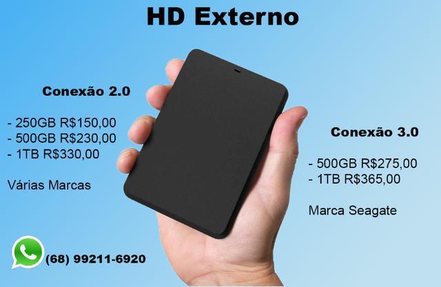 Hd externo de várias capacidades - 2.0 e 3.0