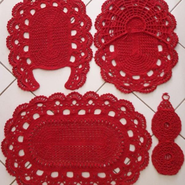 Tapetes de crochê jogo para banheiro