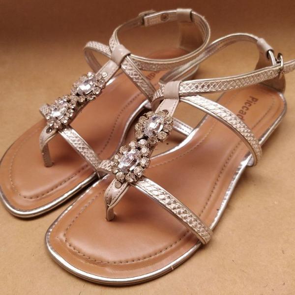 Sandália rasteirinha picadilly prata tamanho 38