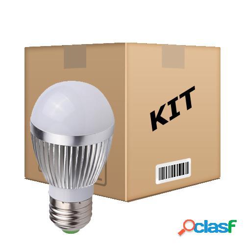 Kit 10 lâmpadas led superled 5w bulbo bivolt e27 branco frio