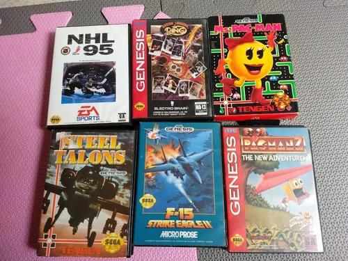 6 jogos mega drive originais completos com caixas e manuais