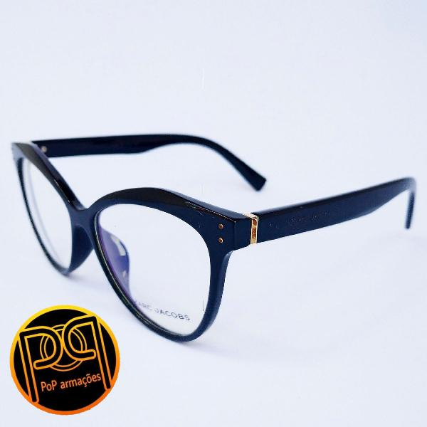 Armação de óculos feminino preto gatinho marc jacobs