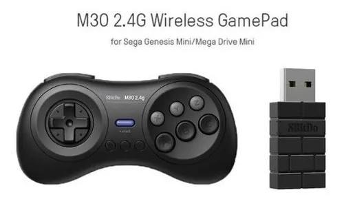 Kit 2 controles 8bitdo m30 2.4g p/ mega drive mini genesis