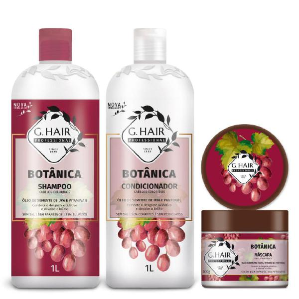 Kit g hair botânica cabelos coloridos shampoo