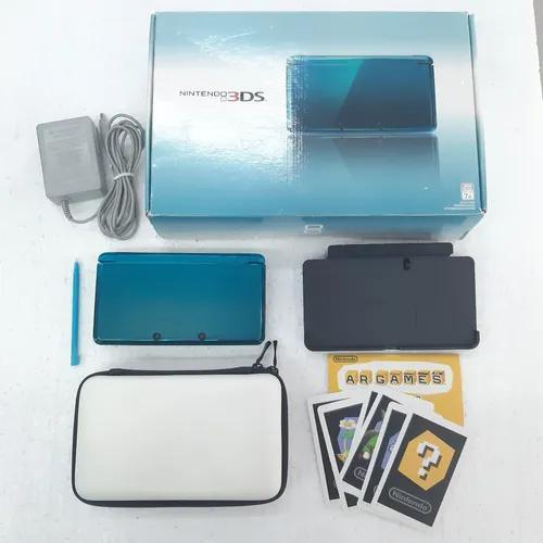 Nintendo 3ds azul acqua - caixa + brindes