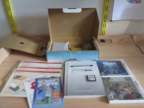 Nintendo 3ds azul aqua completão + 3 jogos