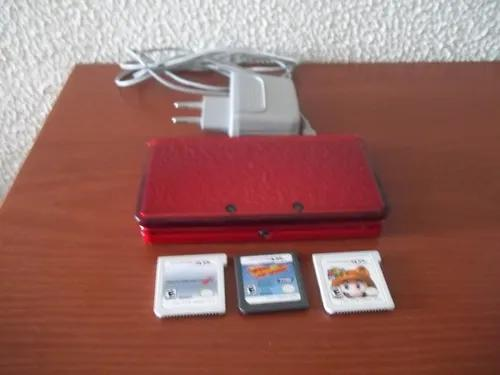 Nintendo 3ds vermelho + 3 jogos