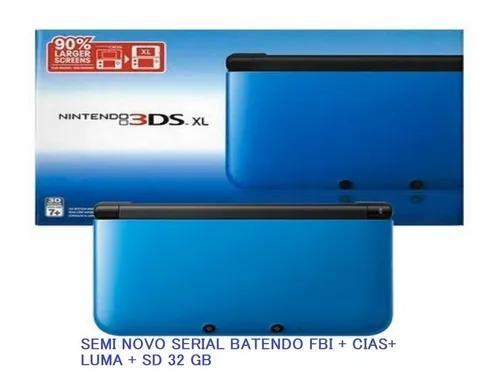 Nintendo 3ds xl azul na caixa serial batendo dsbloq luma fbi