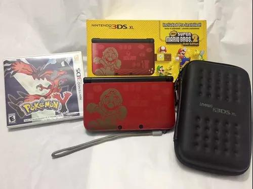 Nintendo 3ds xl super mario bros. gold edition + 3 jogos