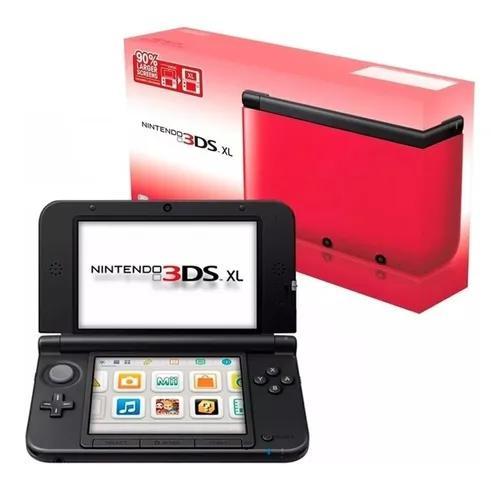 Nintendo 3ds xl vermelho preto + 4 jogos + capa silicone