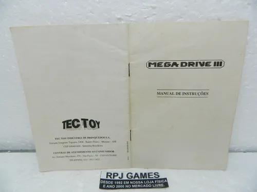 So o manual do mega drive 3 - loja centro rj
