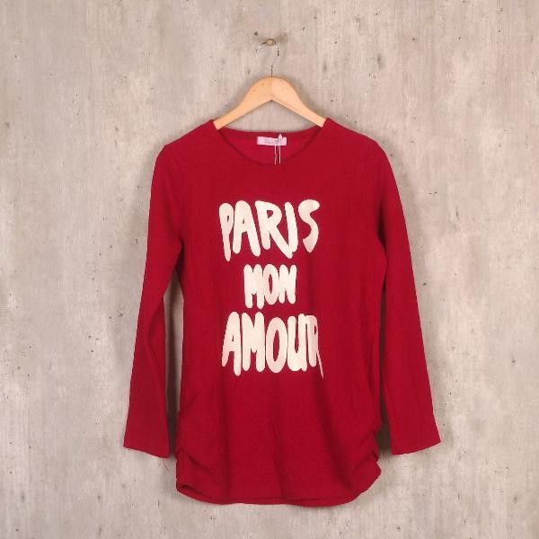 Blusa vermelha estampada zhen ai