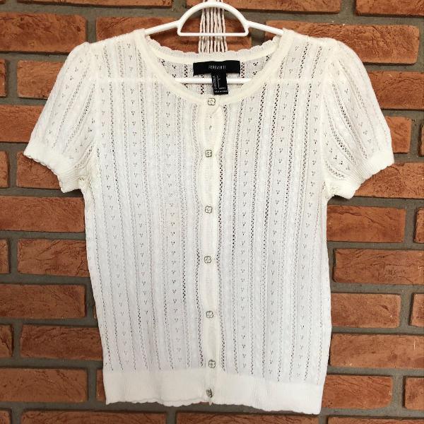 Blusinha cardigan em tricot com botões, forever21, tamanho