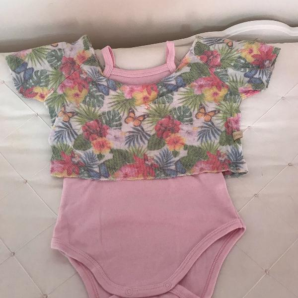 Body rosa bebê com cropet