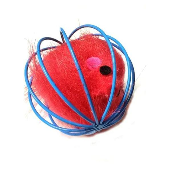 Brinquedo bola gaiola com ratinho para gatos cor azul