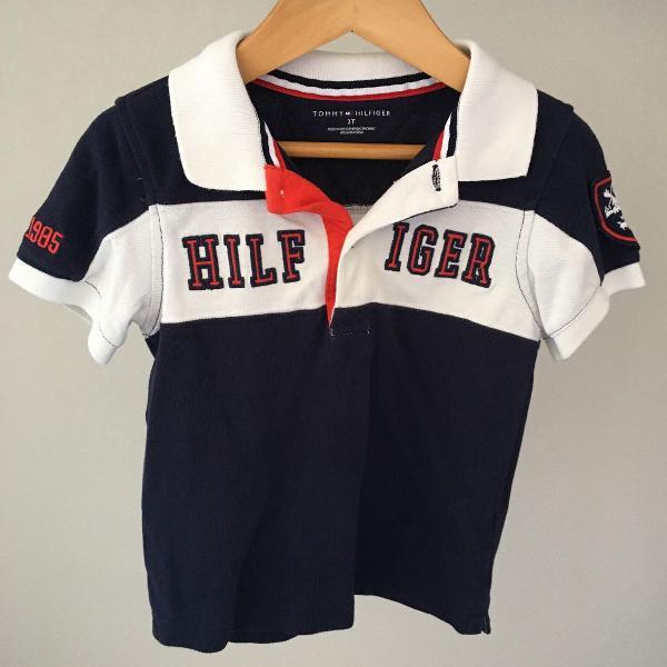 Camisa polo tommy hilfiger tam 2 manga curta azul vermelho