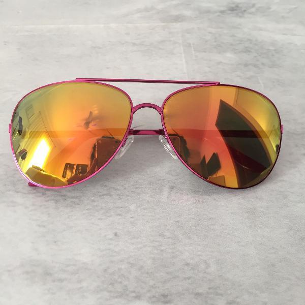 Culos de sol espelhado - rosa - aviador / aviator