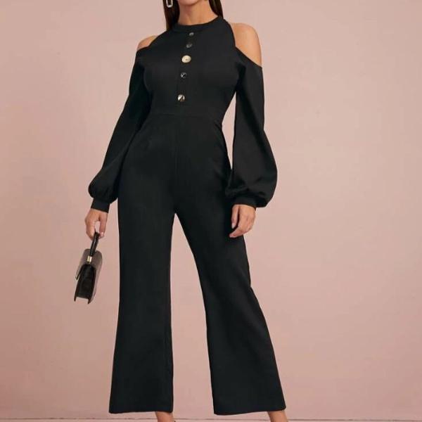 Macacão casual preto com botões - manga longa - cintura