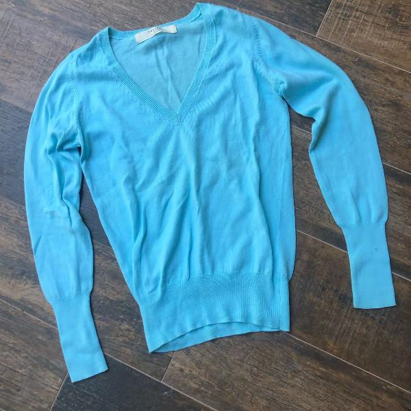 Zara knit blusao azul claro