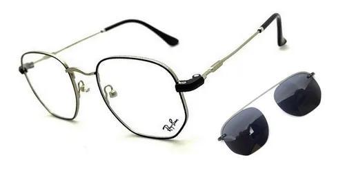 Armação oculos grau solar clip on hexagonal r3045 original