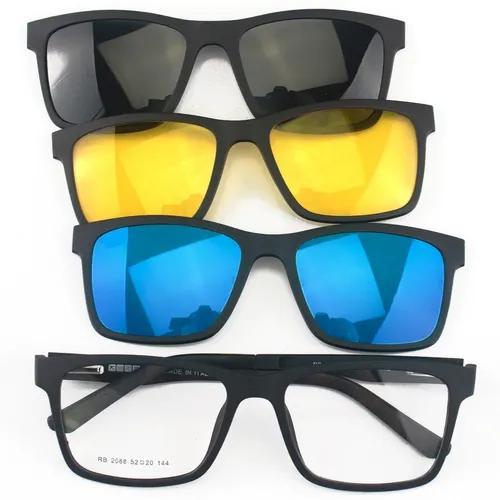 Armação óculos de sol 4 lentes clip on magnéticos