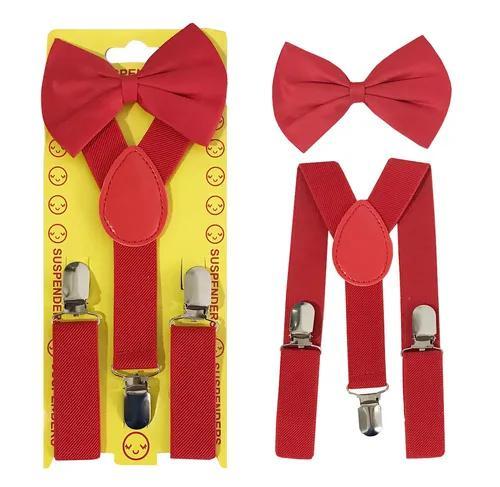 Kit 01 suspensório + 01 gravata borboleta infantil criança