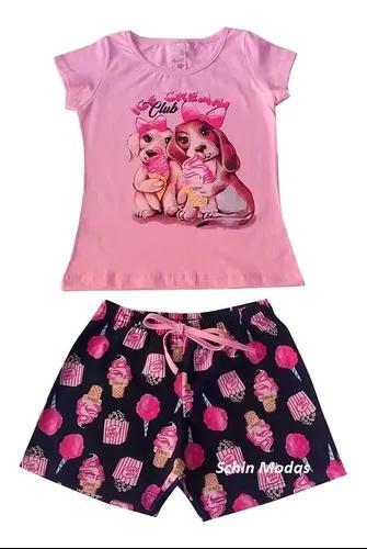 Kit 4 conjuntos infantil menina verão roupa criança