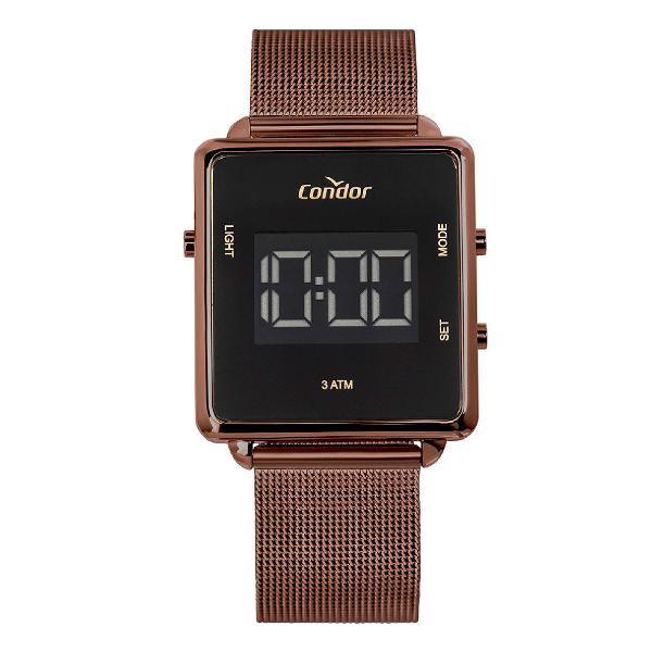 Relógio condor feminino digital trendy marrom cobjf156ad/4m