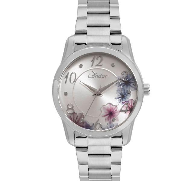 Relógio condor feminino fashion top fashion prata -