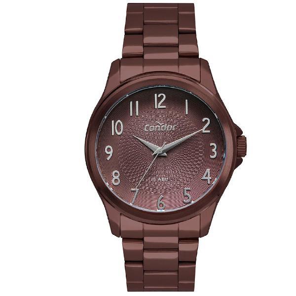 Relógio condor feminino o poder da cor marrom co2036mug/4m