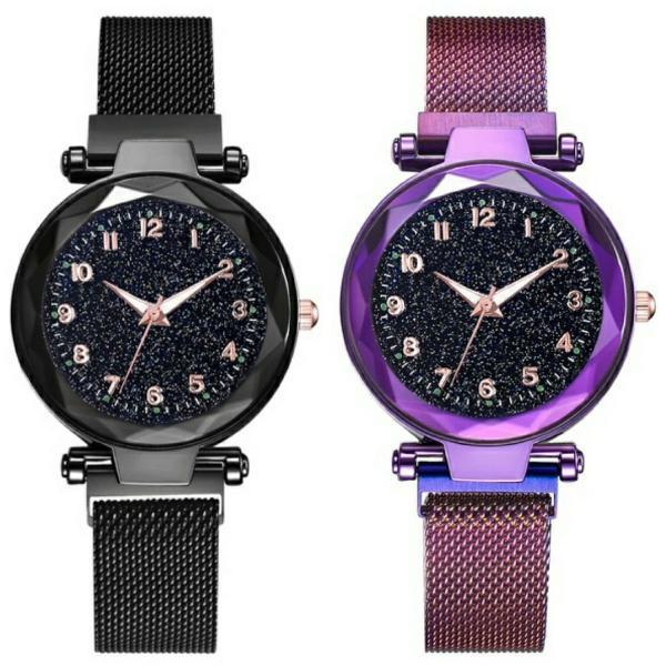 Relógio feminino céu estrelado pulseira magnética luxo